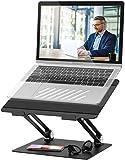 POVO Soporte de Portátil Ajustable Aluminio Soporte Ordenadores para Portátiles DELL, HP, Samsung, Lenovo de 11-17 Pulgadas