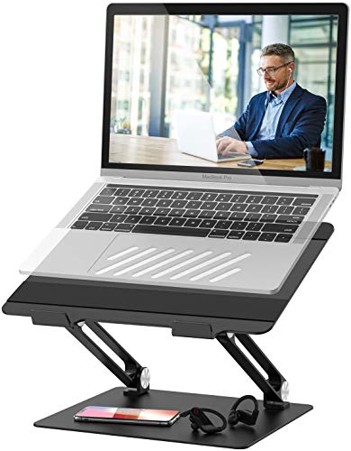 POVO Laptop Stand Adjustable Laptop Riser with Heat-Vent Multi-Angle Computer Stand Holder for 10-17 inch Notebook (Black)