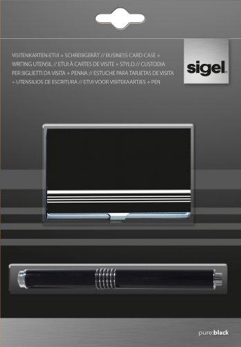 Sigel VZ167 Kombi-Set Visitenkarten-Etui pure:black+ Schreibgerät, schwarz, Etui aus Alu mit Epox-glossy Beschichtung, Schreibgerät mit Großraummine M, für bis zu 10 Karten (max. 91x56 mm), 1 Set
