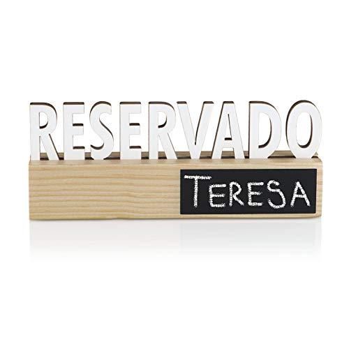 BYP Global - 6 uds Reservado con Mini Pizarra para Bar Restaurante - Base Madera Pino con Mini Pizarra Negra 2 Caras, Letrero Cartel Blanco PVC