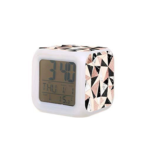 Moderno negro blanco mármol rosa oro rosa LED reloj despertador digital temperatura colorido noche luz dormitorio reloj escritorio reloj batería