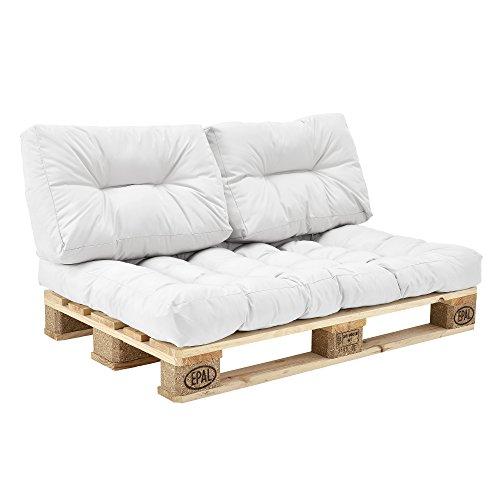 [en.casa] Coussins pour palettes - kit de 3 - Coussin de siège + Coussins de Dossier [Blanc] Canapé de palettes in/Outdoor