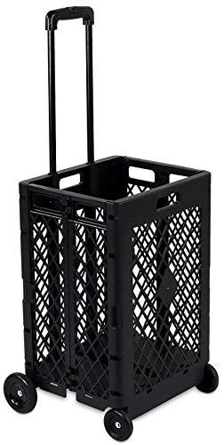Mesh Rolling Utility Cart, Faltbare und zusammenklappbare Handkiste auf Rädern, 55 lbs Kapazität, schwarz