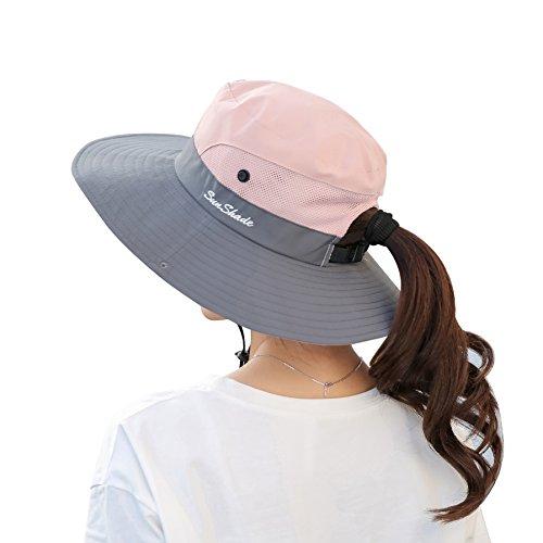 Muryobao Femme été Soleil protection UV Chapeau pliable Large Bord Boonie Chapeaux pour Beach Safari Pêche, Femme, rose, Fit Head Circumference Size: 21\