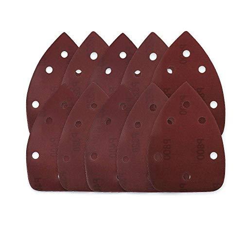 YJRIC papel de lija 10 Uds 140 * 90 autoadhesivo 6 agujeros papel de lija triangular lijadora gancho de papel disco de lijado herramientas abrasivas para pulir grano, 100