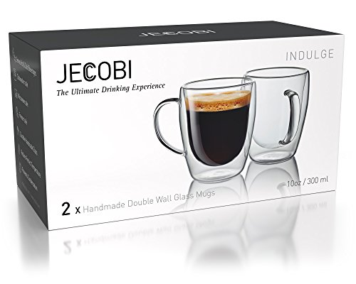 Double Wall Coffee Mug 8 oz Dishwasher Double Walled Glass Tumblers Tea Cup Coffee Mugs Set of 4 Microwave freezer with NO RISK.