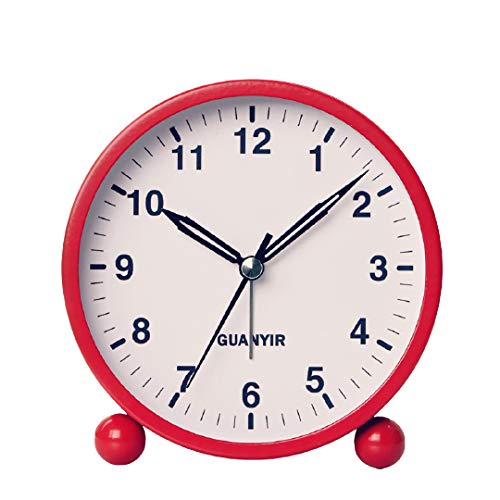 Yangoo Niños Despertador Silencioso Relojes de Cama Luz Nocturna Música Despertador Lindo Mini Reloj de Viaje Despertador de Escritorio Silencioso Despertador Regalo para Niños Niñas,A