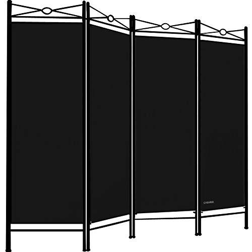 Deuba Paravent Lucca 180x163cm 4 Trennwände flexibel verstellbar Raumteiler Sichtschutz platzsparend & multifunktional schwarz