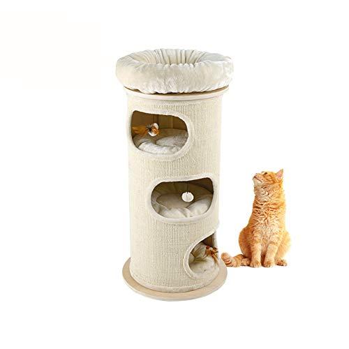 GBY Kat klimrek, sisal emmer kat klimrek, kattennest krabpaal massief hout kattenhuis, grote brievenbus, kat klimrek, geschikt voor gebruik binnenshuis, 115 x 55 cm