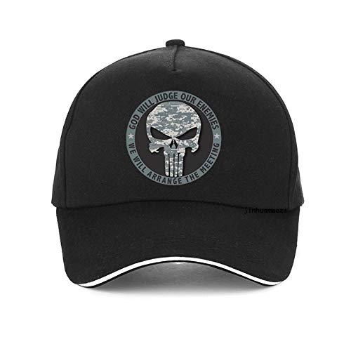QIANWEIXI Baseball Cap Herren Black Letter Skelett Schädel Baseball Cap Punisher Hut Unisex Snapback Hüte Outdoor-Sport-Kappe