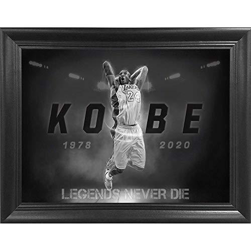Kobe Bryant Legends Never Die Poster Wall Art Decor Framed Print | 16x12 | Posters & Pictures | LA Lakers NBA Basketball All Star Legend B&W Tribute | Fan Memorabilia Gift for Guys & Girls Bedroom