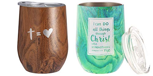 Christian Tumbler Set - Nui Living Philippians 4:13 - Stainless Steel Cup for Coffee Tea Wine and Other Hot or Cold Drinks - Great for Get Well Graduation Celebration