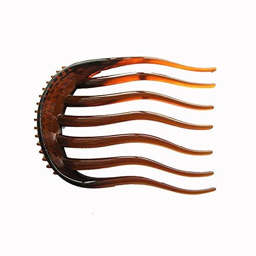 XKMY Clip de pelo para mujer con pelo esponjoso, herramienta de trenza de plástico para cola de caballo y flequillo para peinar el pelo peinado peinado esponjoso (Color: Marrón)