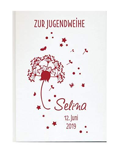 Livingstyle & Wanddesign Personalisiertes Gästebuch zur Jugendweihe mit Namen und Datum Pusteblume rot (96 Seiten/ 48 Blatt)