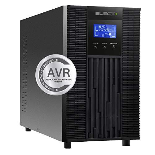 E-NUC Elect + UPS 3000 VA Sistema SAI EL0004 (3000VA, 12V/9Ah, 6 Baterías, Tiempo Transferencia, Factor Potencia 0.99, Pantalla LCD) – Negro