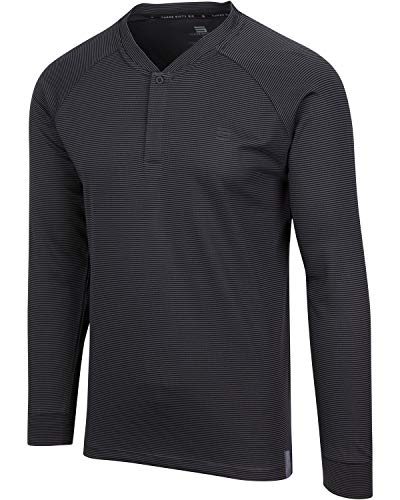 Dry Fit Long Sleeve Collarless Golf Shirts for Men  4 Way Stretch and Moisture Wicking Golf Polo Charcoal