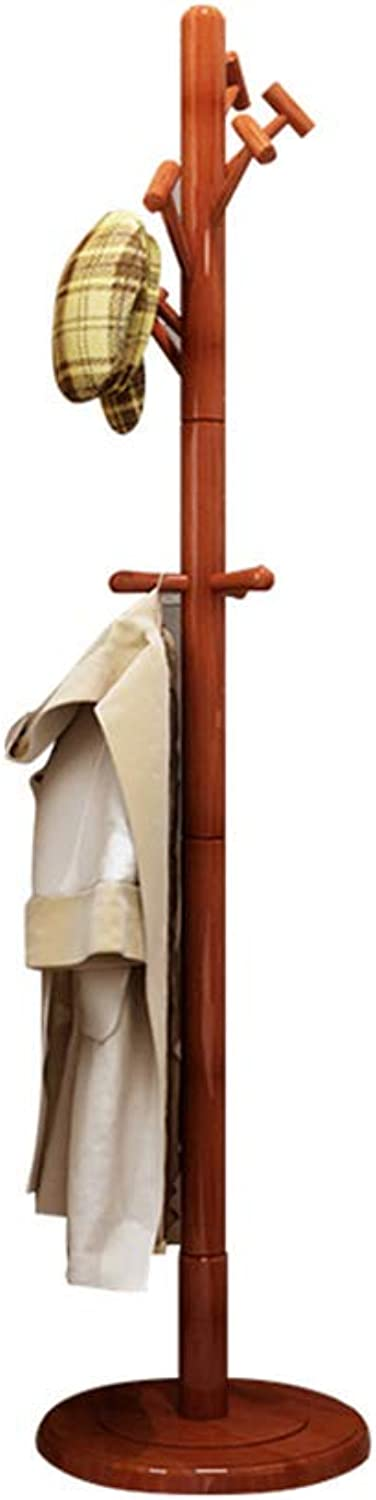 DYR Wooden Floor Coat Rack, Support with Round Base for Clothes, Scarves, Bags, Umbrella (10 Hooks) (color  Begonia color)