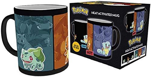 Go Pokemon - Tasse Kaffeebecher - Glumanda - Bisasam - Schiggy - Thermoeffekt - Geschenkbox