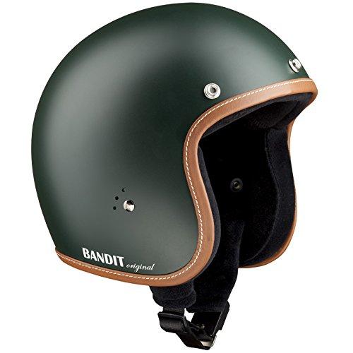 Bandit Helmets Jethelm premium kleine Bauweise Innenfutter Baumwolle Brillenschlaufe Sonnenschild, Größe:L(59-60cm), Farbe:gruen-matt