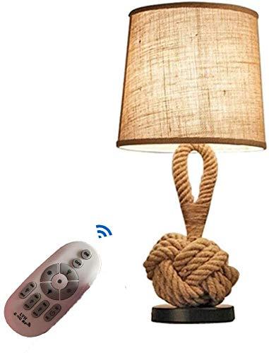 Lámpara de Mesa, Aura luz Regulable con Control Remoto, Retro Cáñamo Cuerda Lámpara De Mesa Cabecera De La Tela Cáñamo Cuerda Decoración Pequeña Lámpara De Sobremesa lámpara de Mesa de Lectura