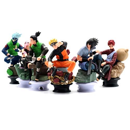 MNZDDDP 7 Cm Seis A Set Naruto Naruto Uchiha Sasuke Decoración De Automóvil Doll Traje Decoración De Escritorio Decoración De Dibujos Animados Personaje De Dibujos Animados Modelo De Juguete Regalos