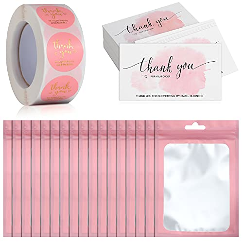 620 Pieces Thank You Cards and Stickers Set Thank You Gold Foil Stickers Thank You for Supporting My Small Business Stickers with Pink Resealable Packaging Bag, Suitable for Business Owners