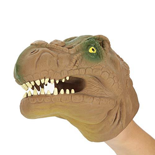 Garosa Handpuppen Dinosaurier Tyrannosaurus Realistische Gummi Spielzeug Tier Figur Geshenke für Kinder(Braun)
