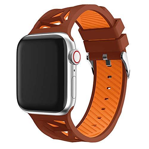 XZZTX Compatibile con Cinturino Apple Watch 38mm 42mm, Cinturino in Silicone Morbido Compatibile per iWatch Apple Watch Strap Series 4 3 2 1,Brown+Orange,42/44mm