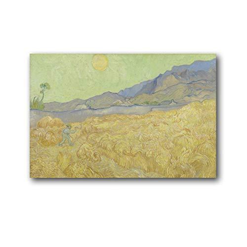 YGTD Póster de Vincent Van Gogh Wheatfield con un segador de pintura en lienzo para pared, póster de decoración moderna para el hogar, obras de regalo, 50 x 75 cm