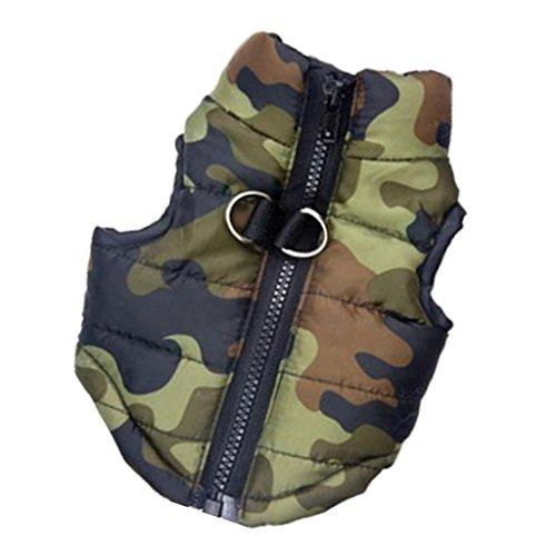 Hunde Baumwolle Gefütterte Weste Kleider Mantel Jacke Kleidung Größe L -camouflage