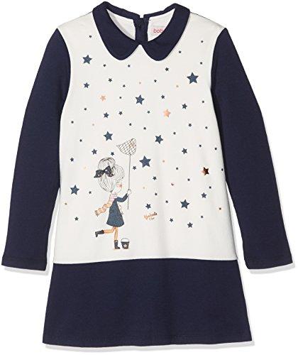 Boboli Baby-Mädchen Combined Dress for Girl Kleid, Blau (Navy 2440), 74