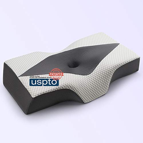 IKSTAR Memory-Foam Pillow for Sleeping - Ergonomic Orthopedic Side Sleeper Pillow, Cervical Neck Support Pillows Relief Neck & Shoulder Pain for Back, Side & Stomach Sleepers