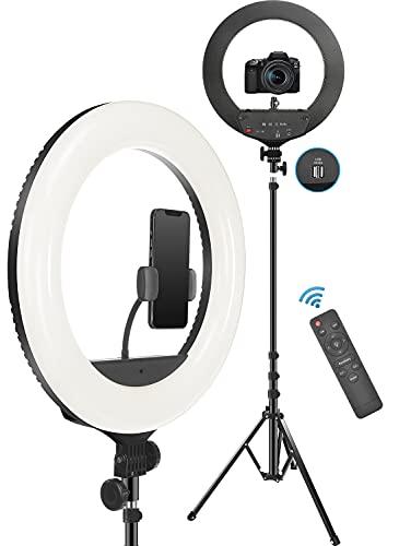 PEHESHE 18  Aro de Luz Trípode LED,48cm Anillo de Luz Regulable 2700-6500K con Soporte 2m para Tableta Móvil con Control Remoto Bluetooth y Bolsa de Viaje para Tiktok Maquillaje Selfie Vlog Youtube