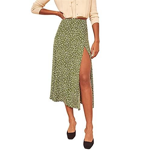 NP Punto de impresión Lado Mujeres Faldas Cintura Femenina Dulce A-Line Falda