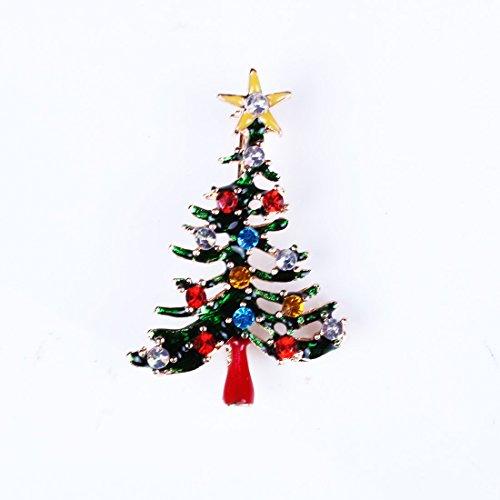 Bluelover Albero di Natale Delicato Natale Bella Spilla Regalo Pieno di Cristallo Gioielli Stile Verde