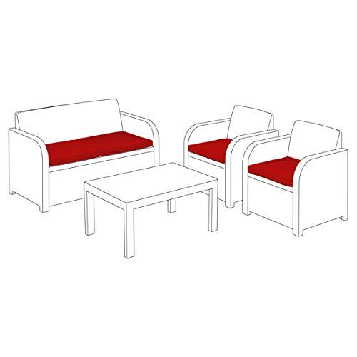 Shopisfy Replacement Seat Cushion 4 Piece Set for Keter Allibert Carolina Outdoor Patio Sofa Set - Red