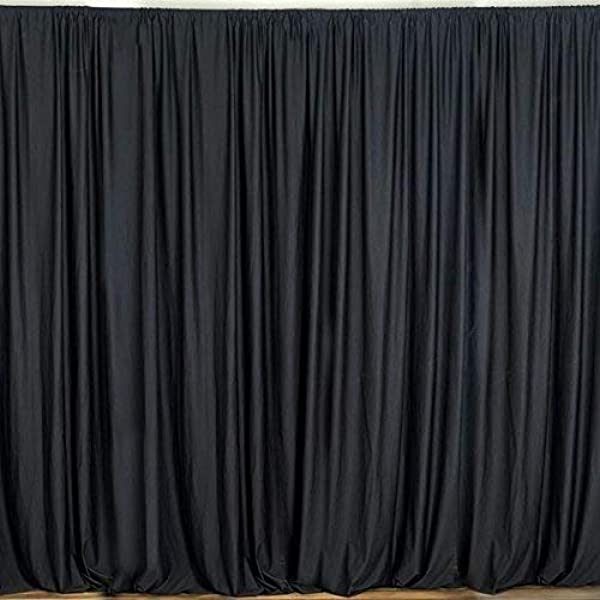 AK TRADING CO 10 Feet X 10 Feet Polyester Backdrop Drapes Curtains Panels With Rod Pockets Wedding Ceremony Party Home Window Decorations Black