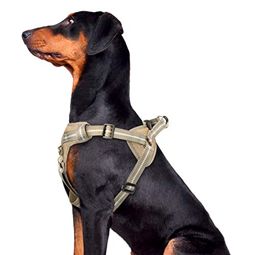 WINSEE Dog Harness and Collar Set for Large Dogs, Reflective Adjustable Step in Dog Halter Harnesses no Pull with Buckle Dog Collar Heavy Duty, Soft Padded Pet Vest Walking Harness Brown camo