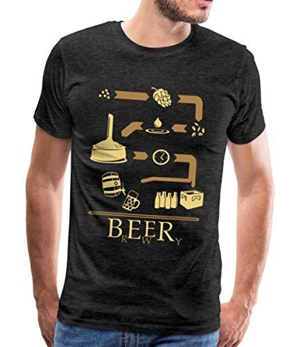 Spreadshirt Brassage De La Bière Brewery T-Shirt Premium Homme, M, Charbon