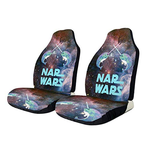 BUXI Printing Car Seat Cover,Starry Sky Nar-Whal Nar Wars Galaxy Auto Car Seat Cover,Functional Protector Cushion For Suv Truck,2pcs