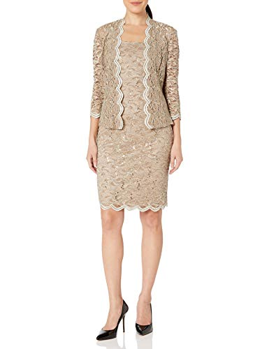 Alex Evenings Women's 14 Tea Length Dress and Jacket (Petite and Regular Sizes), Champagne