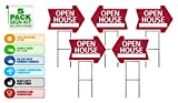Open House Sign Kit (5pack) Die Cut Arrow Shape Heavy Duty Stands, Durable Corrugated Coroplast, UV Colorfast Red, Unconditional Guarantee, Real Estate Agent Supplies, 5-18x24 Signs and 5 Stands