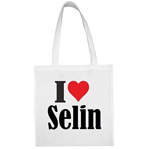 Reifen-Markt Tasche I Love Selin Größe 38x42 Farbe Weiss Druck Schwarz