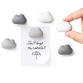 Novelty Fridge Magnets Cloud Magnets by Qualy Design Studio Set of 6 Message Magnets Cloud Magnets Gradual Colors from White to Dark Grey Can be used in Office or at Home.