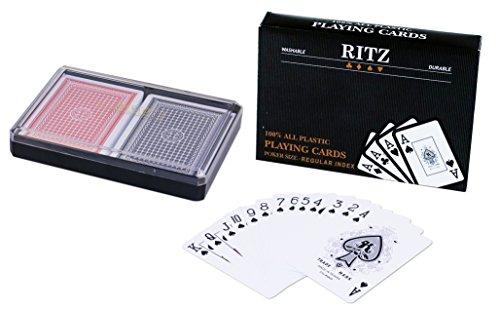 2 Decks Poker Size Ritz 100% Plastic Playing Cards Set in Plastic Case, Waterproof (Poker Size Wide Regular Index)