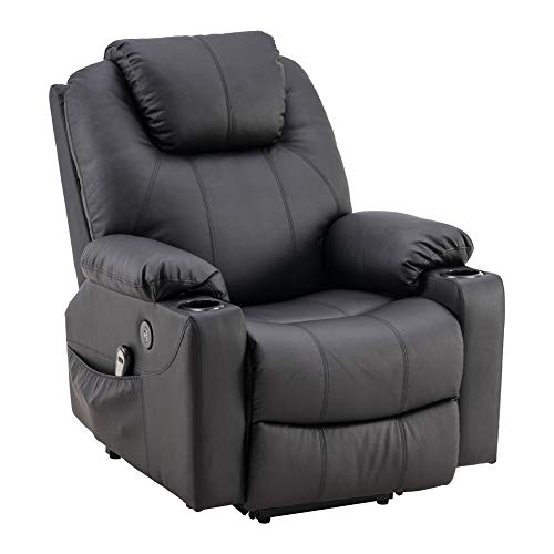 Power Lift Recliner Chair Massage PU Leather Single Sofa for Home and Living Room Theater Seating with Backrest (Black)