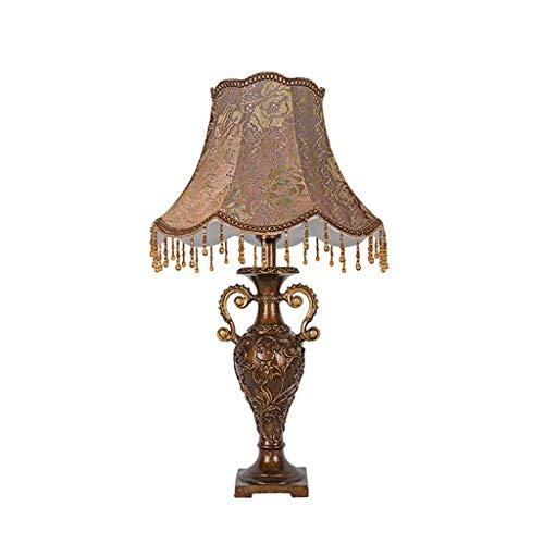 DJSMtd Lámpara de Mesa Productos para Bodas Sala de Matrimonio Luces Decorativas Estilo Retro Europeo Estilo de Tela Dormitorio Lámpara de cabecera Interruptor de Encendido Botón