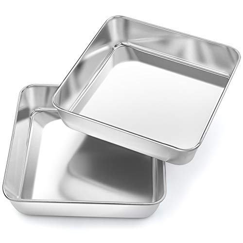 8 Inch Square Baking Cake Pan, P&P CHEF 2 Pcs Stainless Steel Toaster Oven Pans Bakeware for Birthday Cake Lasagna Brownie, Non-toxic & Healthy, Leakproof & Heavy Duty, Easy Clean & Dishwasher Safe