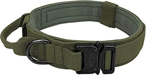 Collar táctico para perro con asa de control – K9 – Collar militar para perro con hebilla de metal resistente y anillo D – 3,8 cm de ancho ajustable de nailon para perros medianos y grandes