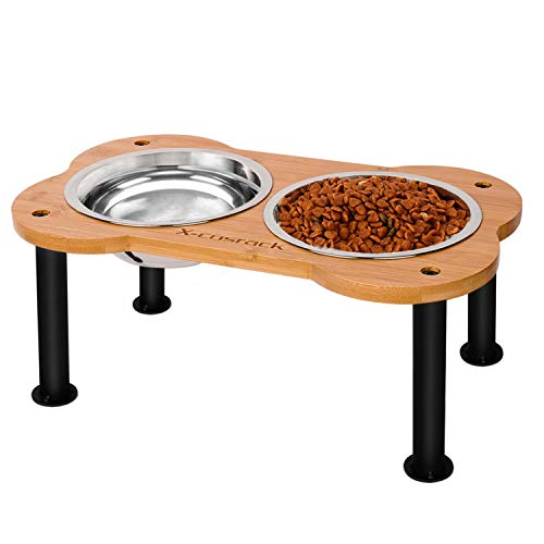 Elevated Dog Bowls,Unique Bone Shape Bamboo Raised Pet Bowls&Cats Dogs Food and Water Stand Pet Feeder with 2 304 Stainless SteelBowls,Perfect for Pets Puppy Medium Dogs Cats(Patent Pending)